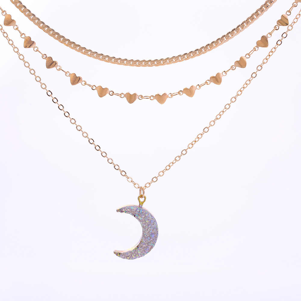 Multilayer Gold Color Heart Shaped Chain Moon Crescent Charm Pendant Necklace Full Crystal Shiny Druzy Moon Necklace Women G