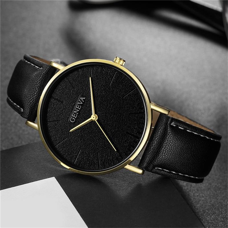 Relojes de cuarzo de Ginebra reloj hombres deporte deportivo reloj de cuero Hodinky Relojes Hombre Relogio Masculino Saat