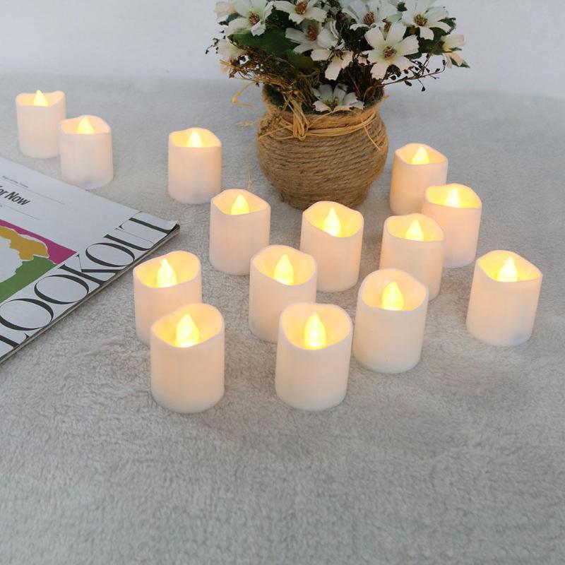 12pcs Warm White Irregular Candle LED Flickering Tea Light ...