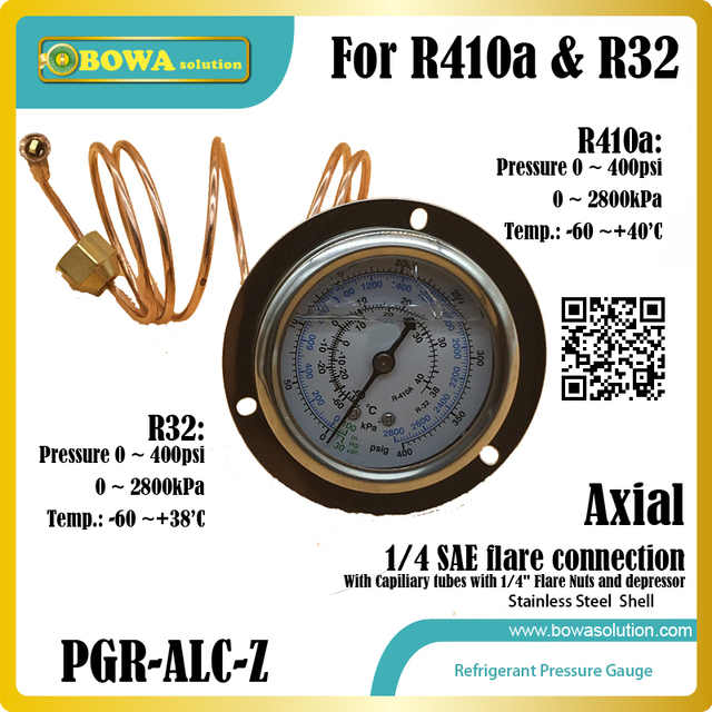 """0~400psi HFC refrigerant Pressure Gauge for R410a and R32 with capillary tube with 1/4"""" flare nuts and depressor for HVAC/R unit"""