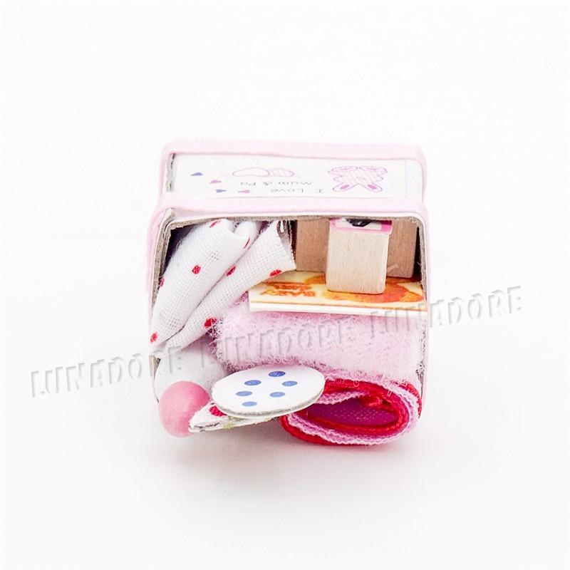 Odoria 112 Miniatura Caixa Cesta Com Brinquedos E Garrafa De Leite