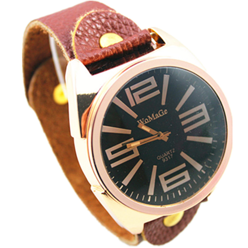 top fashion brand womage luxury rose gold <font><b>big</b></font> dial vintage genuine leather brown strap <font><b>watch</b></font> women men <font><b>unisex</b></font> quartz wristwatch image