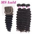 Frete Grátis 7A Peruano curly virgem cabelo 3 pcs bundles cabelo com 1 pc 4X4 para uma completa cabeça Produtos Ms Lula