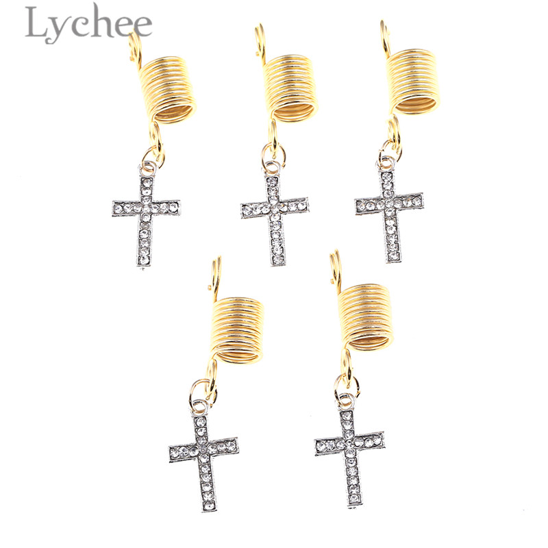 Lychee 5pcs Reggae Alloy Crystal Spring Hollow Hair Braid Dread Dreadlock Beads Clips Tower Cross Headwear Jewelry Men Women