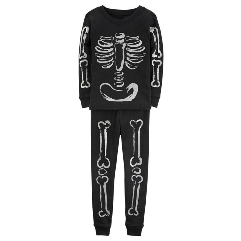 Kids Baby Girls Boys Bone Tkeletons Tops Shirt Pants 2PCS Outfits Set Clothes L9012