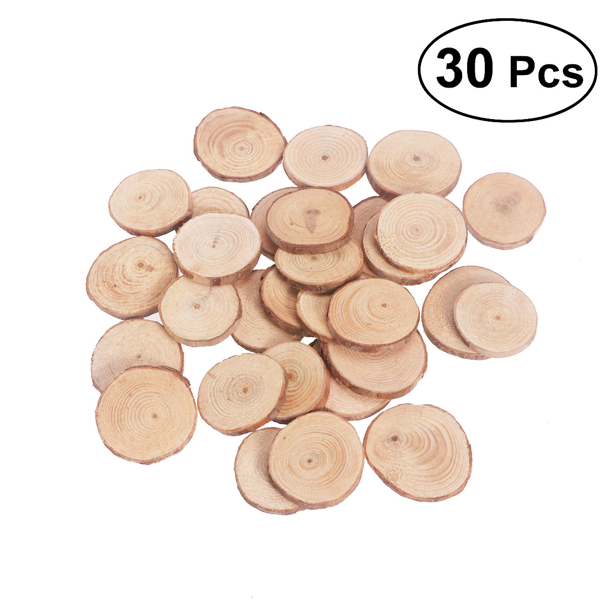 Us 8 07 40 Off 30pcs 4 5cm Wood Log Slices Discs Round Natural Rustic Wood Crafts Tags Wedding Diy Decorations Wooden Craft Supplies Ornaments In