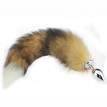 snowshine YLW Stainless Steel Anal Plug Fox Tail Butt Plug Anal Sex Toys Anal Tail Plug  free shipping