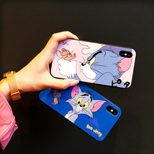 Blue Ray Tempered Glass Cartoon Tom Jerry Case Phone For iPhone X XR XS Max Silicone Cover Cute Tom Jerry Back Luxury TPU Cases printio tom and jerry