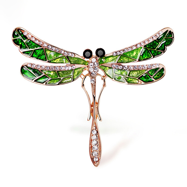 Retro Rhinestone Dragonfly Brooch Lapel Pin Fashion Enamel Pins and Brooches for Women Accessories Vintage Jewelry Luxury X437