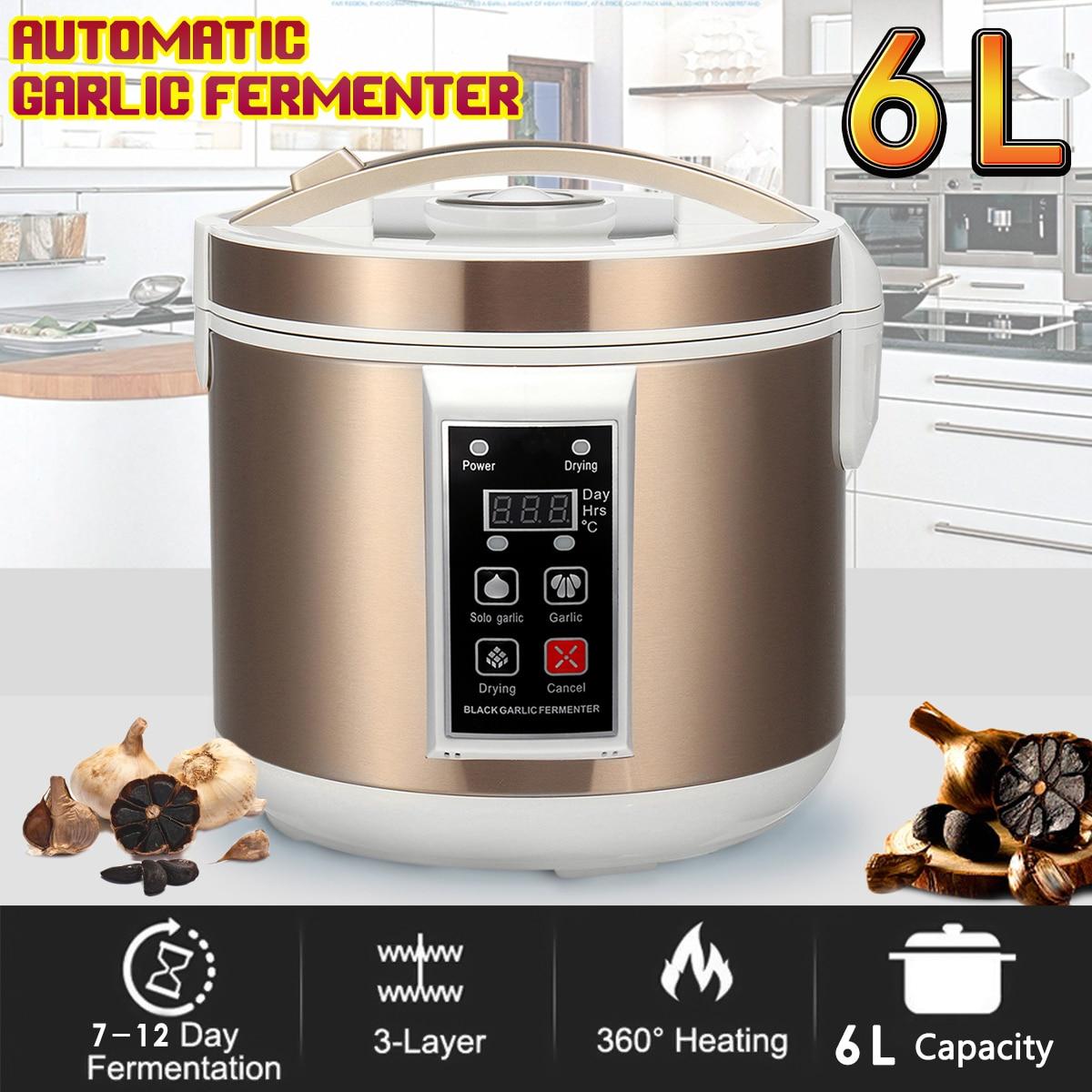 220V EU/US 6L Automatic Black Garlic Fermenter Maker Zymolysis Machine Electric Household Heating Healthy Natural Organic