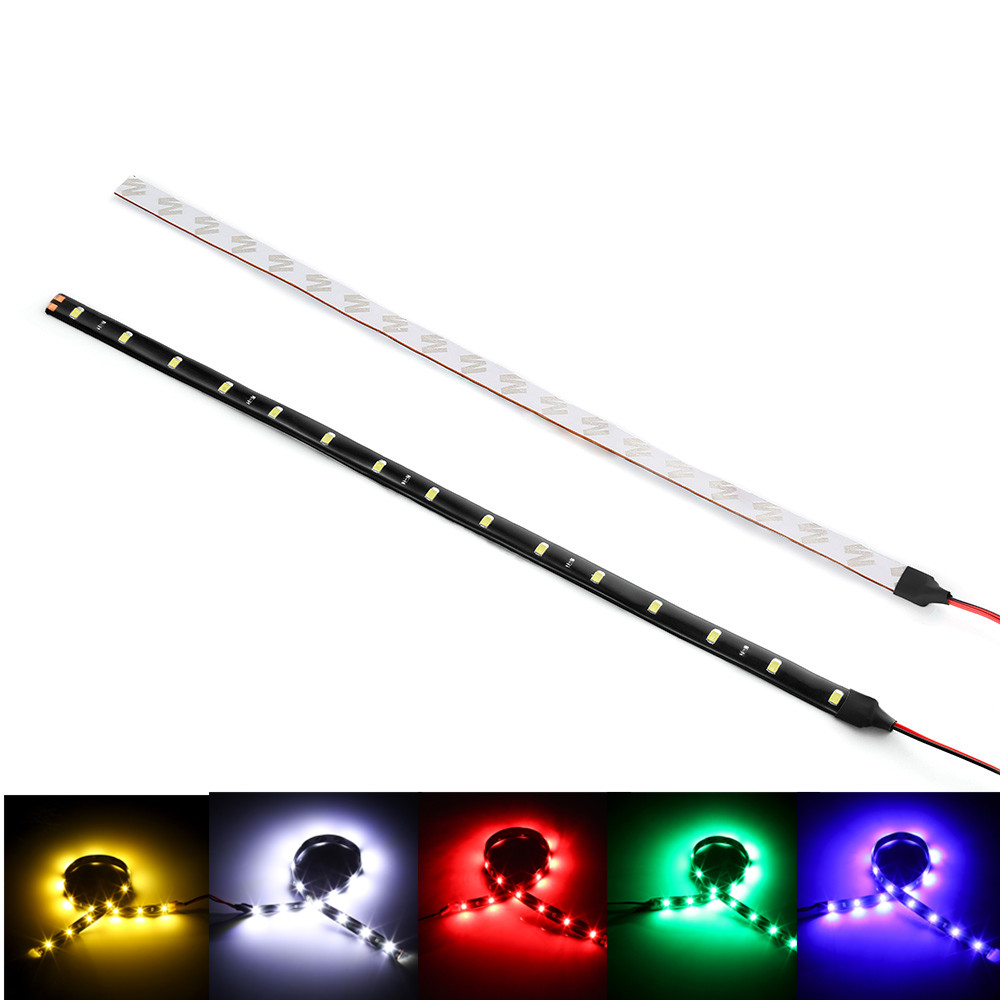 1PC Car Strip Light 15 LED Motorcycle Flexible Bar 30CM 3528 SMD Under Tube Underglow Underbody Boat Atmosphere Decorative Lamp