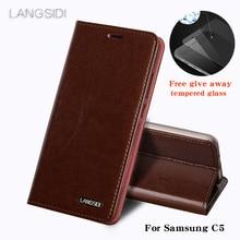 Wangcangli サムスン C5 電話ケース油ワックスの皮財布フリップスタンドホルダーカードスロット革ケースを送信するために電話ガラスフィルム