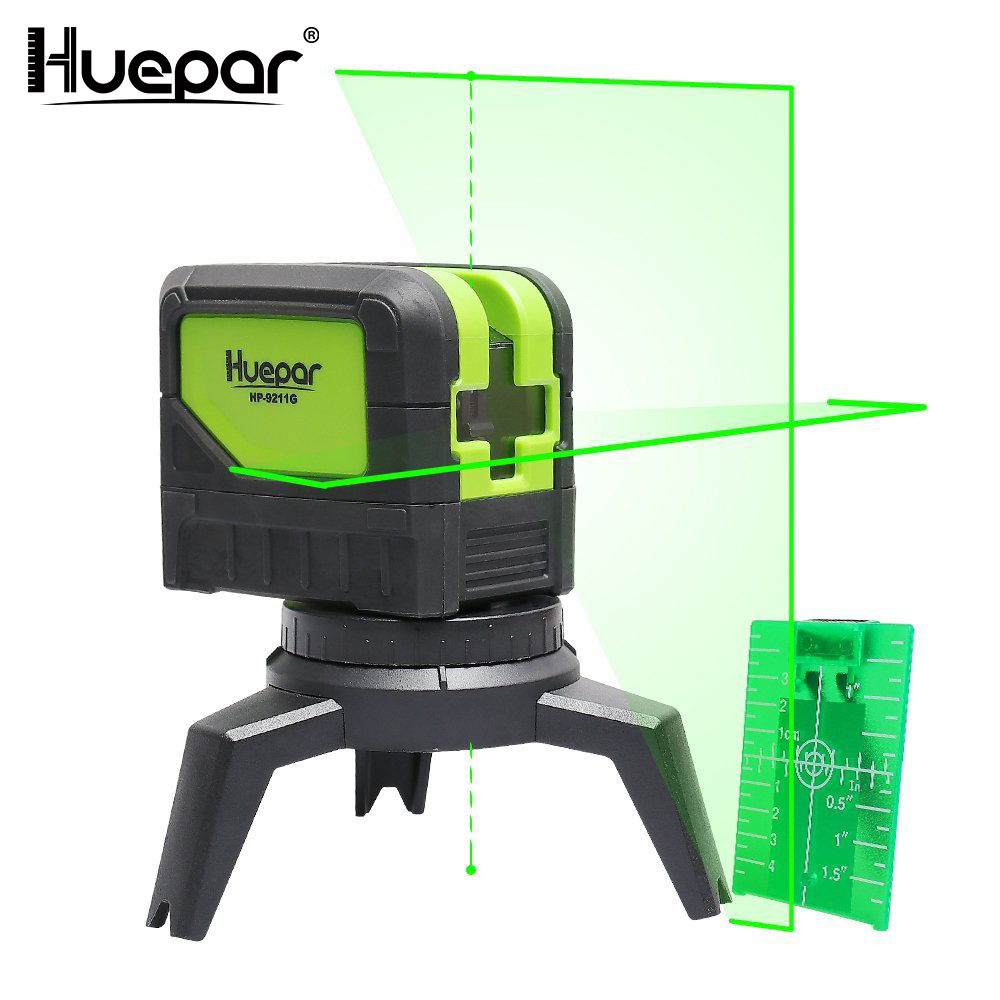 Huepar зеленый луч лазерный уровень 2 поперечные линии 2 точки Professional 180 градусов самонивелирующиеся Nivel лазерные диагностические инструменты ...