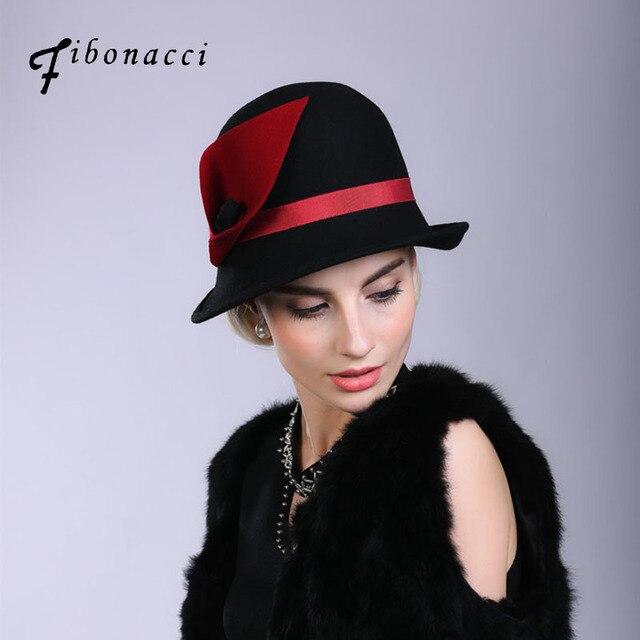 8bce8b96f1e352 Fibonacci Fedoras Wool Felt Hat Female Irregular Flanging Floral Dome  Fedora Hats for Women