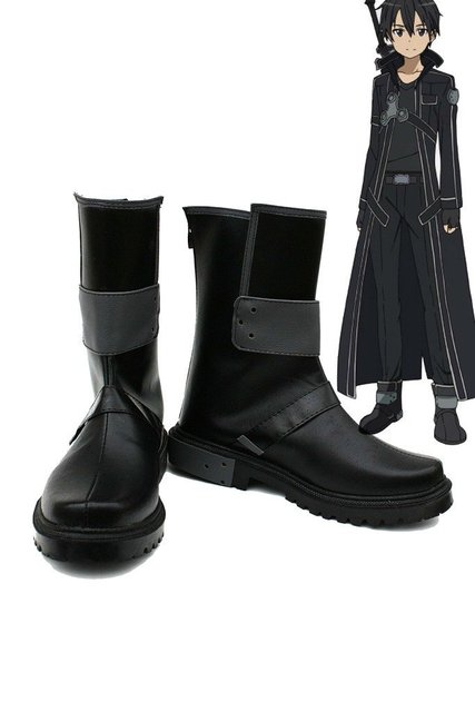 SAO Sword Art Online Anime Kirigaya Kazuto Kirito Cosplay Shoes Black Boots Custom Made 2