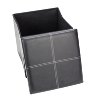 F 03S Practical PVC Leather Square Shape Surface with Line Footstool Black Stools & Ottomans     -