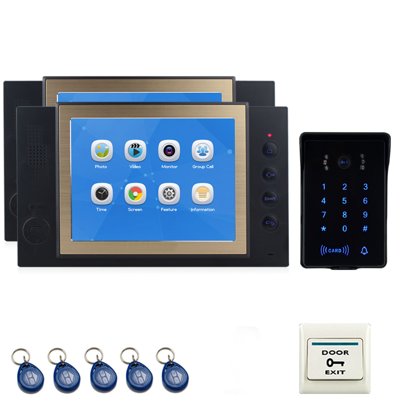 JEX 8`` Video Door Phone Intercom System Kit 2 Voice/Video Record Black Monitor +700TVL Waterproof Password Keypad RFID Camera