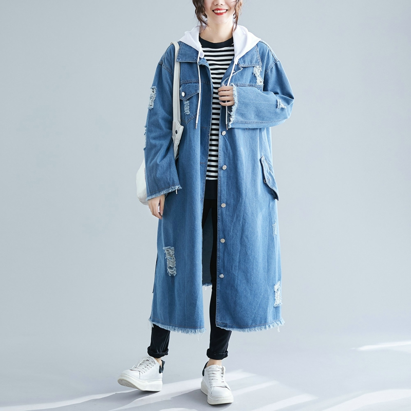 SuperAen Autumn and Spring New 2019 Denim   Trench   Coat for Women Korean Style Wild Casual Hooded Fashion Windbreaker Female