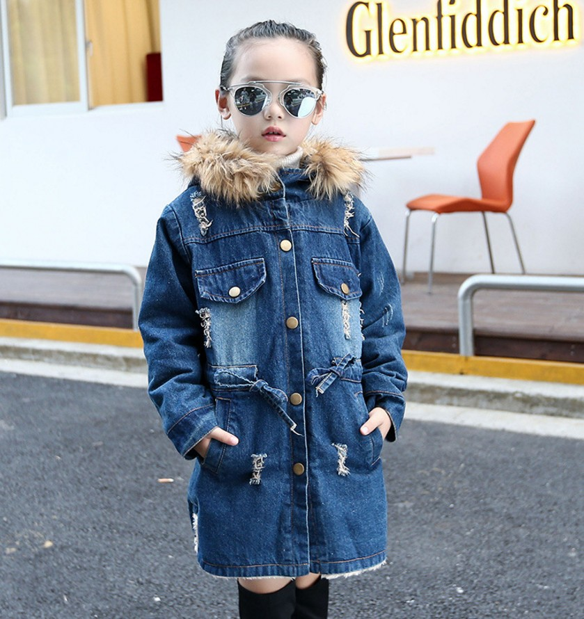 Winter Girls Jackets Children Clothes Denim Long Warm Clothing Kids Coats Cotton Hooded Outwear For Girl 3 4 5 6 7 8 9 10 11 12Y