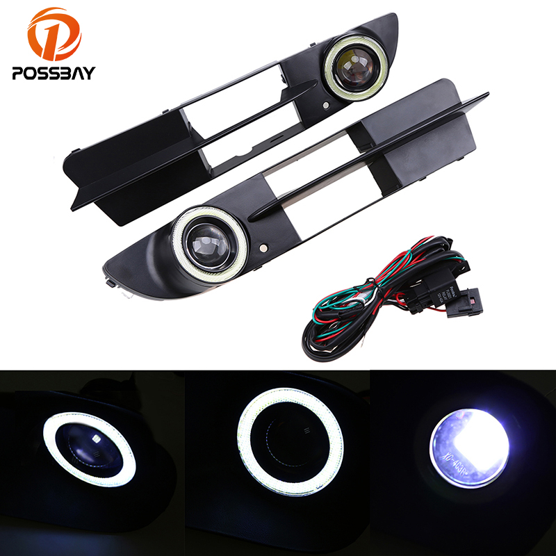 POSSBAY Car Fog Light Front Bumper Fog Lamp Grille LED Convex Lens Angel Eyes Fog Lights Fit for BMW E60/E61 White Bulbs