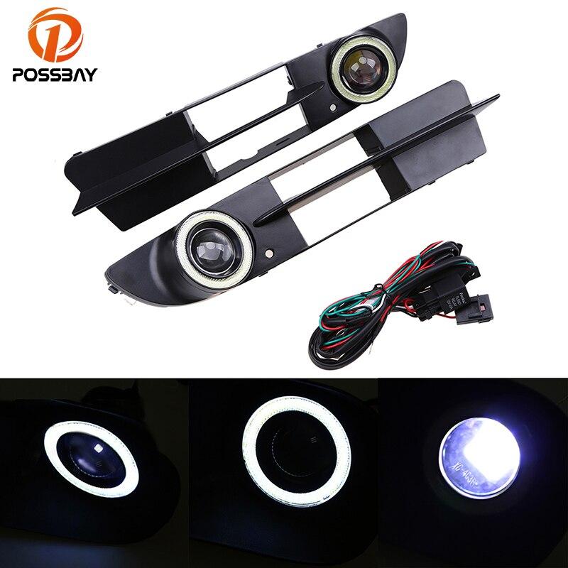 POSSBAY LED Convex Lens Angel Eyes Fog Lights for BMW 5 Series E60 Sedan 2003 2007 Pre facelift DRL Daytime Running Light White