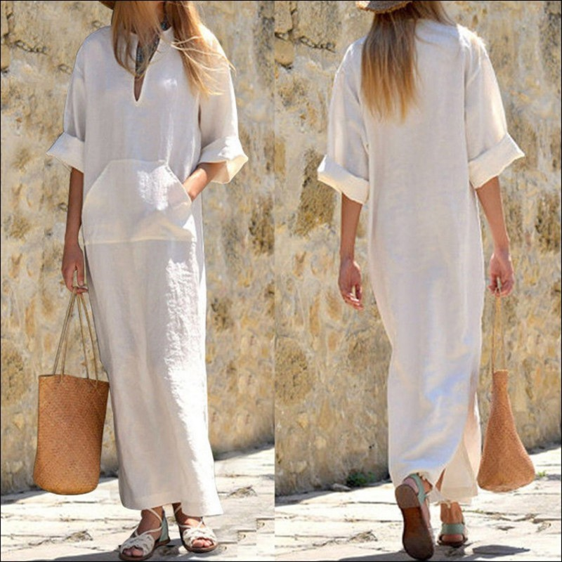 Cotton Linen women Loose Dresses Summer sundress V neck half Sleeve long dress with pocket Vestidos White Summer Dress Female