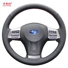 Car Steering Wheel Covers Case for SUBARU XV Forester 2013 Outback Legacy Genuine Leather Auto Cover Car-styling Hand-stitched
