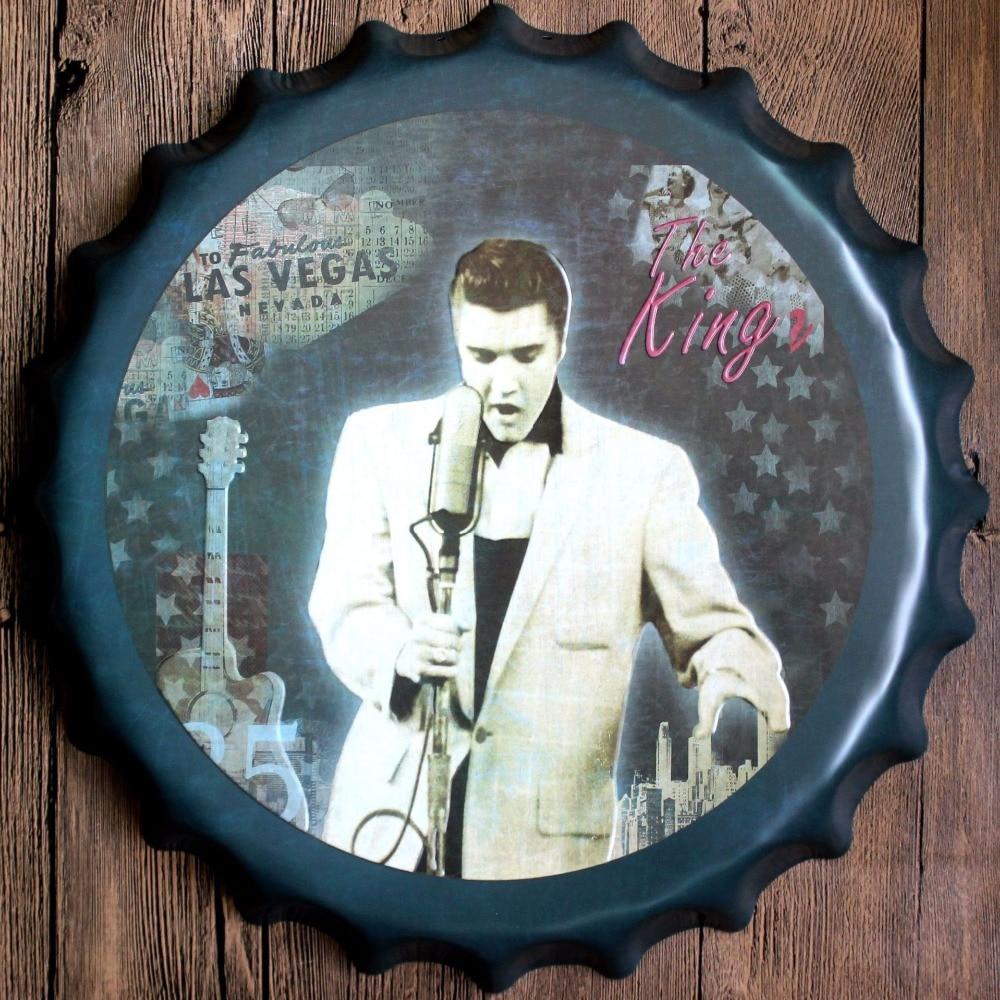 40cm Elvis Presley Bottle Cap Vintage Home Decor Tin Sign