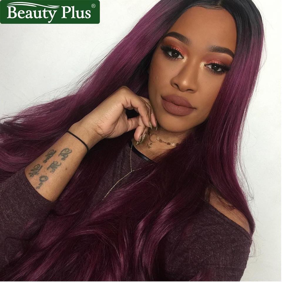 Ombre Brazilian Human Hair Weave Bundles With Closure T1b/99j Straight Hair Extensions 2 3 4 Pcs Burgundy Dark Roots Beauty Plus