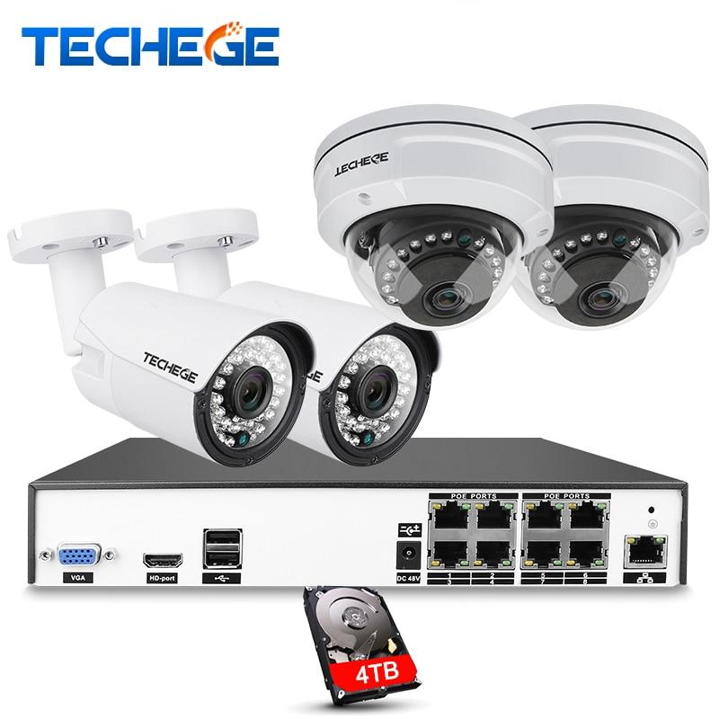 Techege H.265 8CH CCTV Sistema di 5MP 3MP 2MP Metallo Macchina Fotografica del IP Esterna 8CH 4 k POE NVR Kit di Allarme E-mail visione Notturna APP PC A Distanza