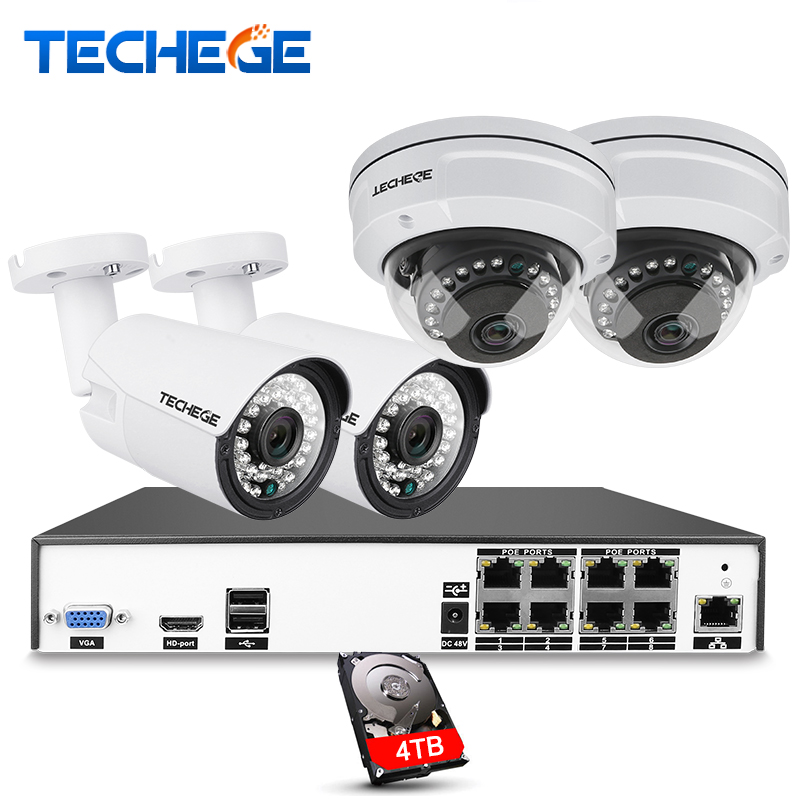 Techege H.265 8CH CCTV System 5MP 3MP 2MP Metal Outdoor IP Camera 8CH 4K POE NVR Kit Alarm Email Night Vision APP PC Remote реле dekraft 23114dek