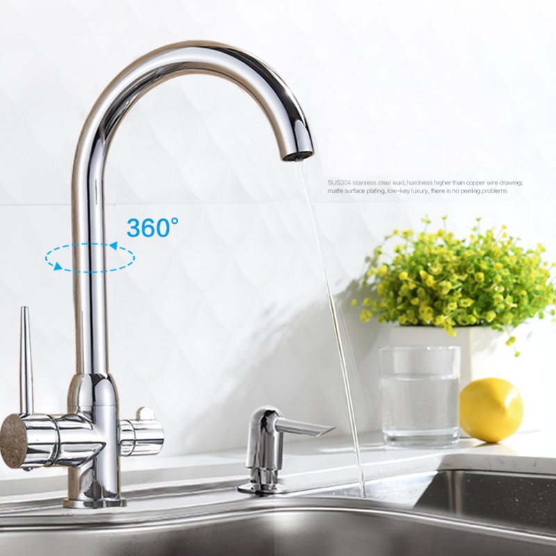 Uythner Waterfilter taps kitchen faucets Dual Handle Deck Mounted Mixer Tap 360 Degree rotation Water Purification Feature Crane