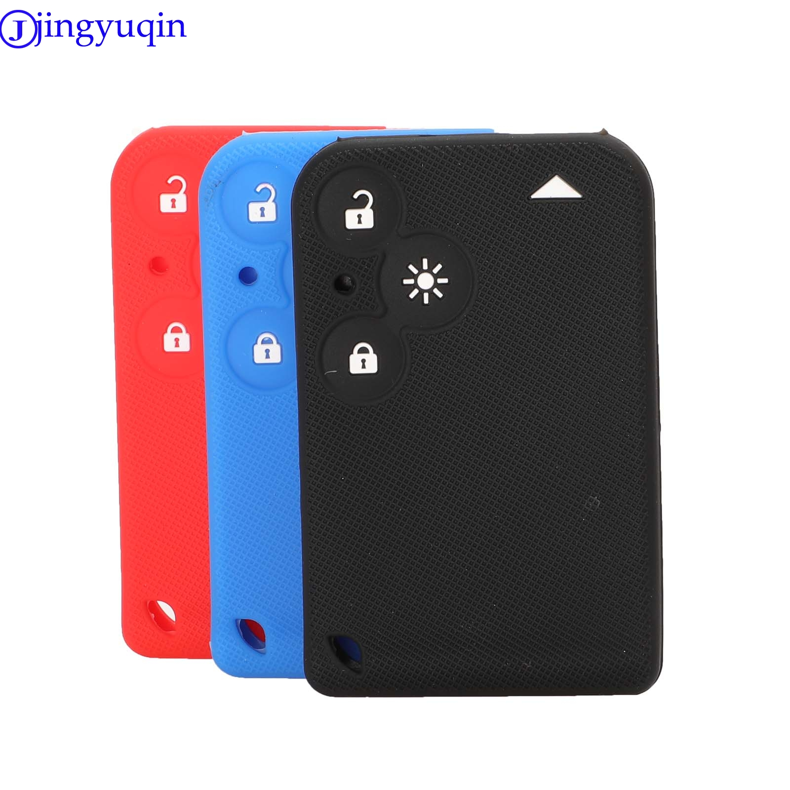 Jingyuqin Remote Car Key Silicone Cover Case For Renault Laguna Espace 3 Buttons Card Holder