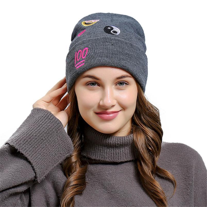 6bf596dfe12 KLV New Fashion Lovely Design Creative Emoji Emoticon Men Women Baggy Wool Knit  Ski Beanie Hat Comfortable Stretch  Unisex