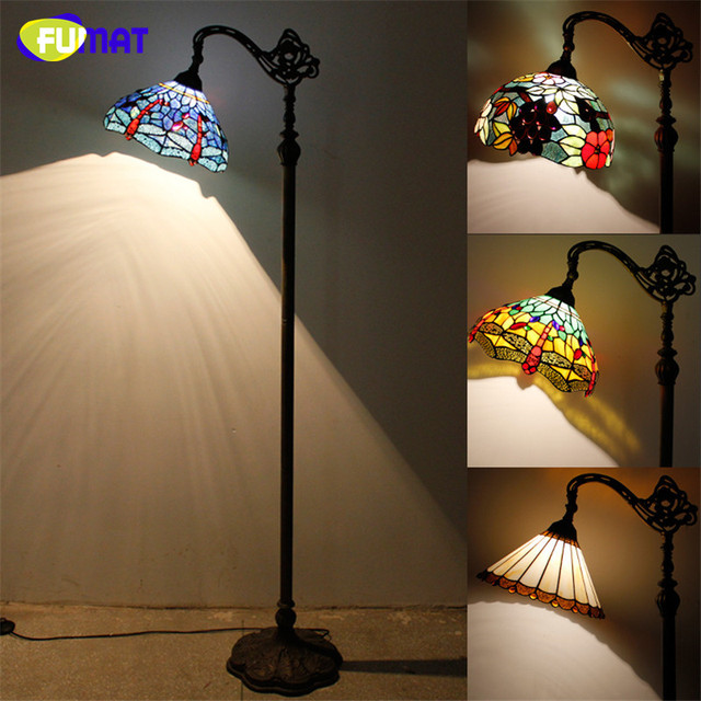 FUMAT Stained Glass Floor Lamp Vintage Style Dragonfly Baroque ...