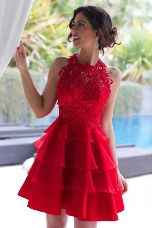 Hot Sale Red Tulle Ruffles A-Line   Cocktail     Dresses   2019 Scoop Lace Appliques Tank Zipper Back Knee Length Prom   Dress
