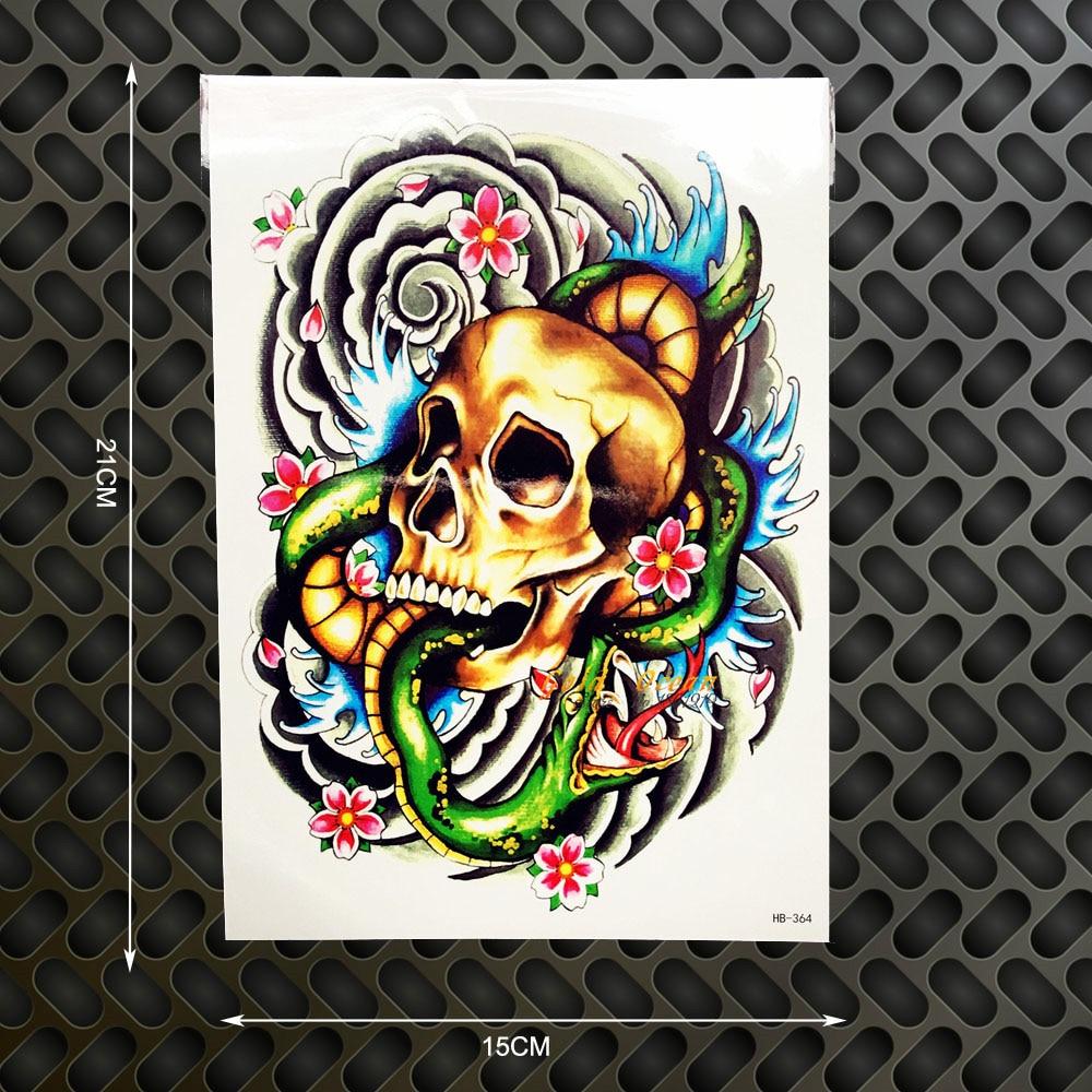 1PC 3D Gold SKull Snake King Designs Temporary Tattoo Body Art Armband Tatoo GHB-364 Harajuku Punk Tattoo Stickers Shoulder Legs