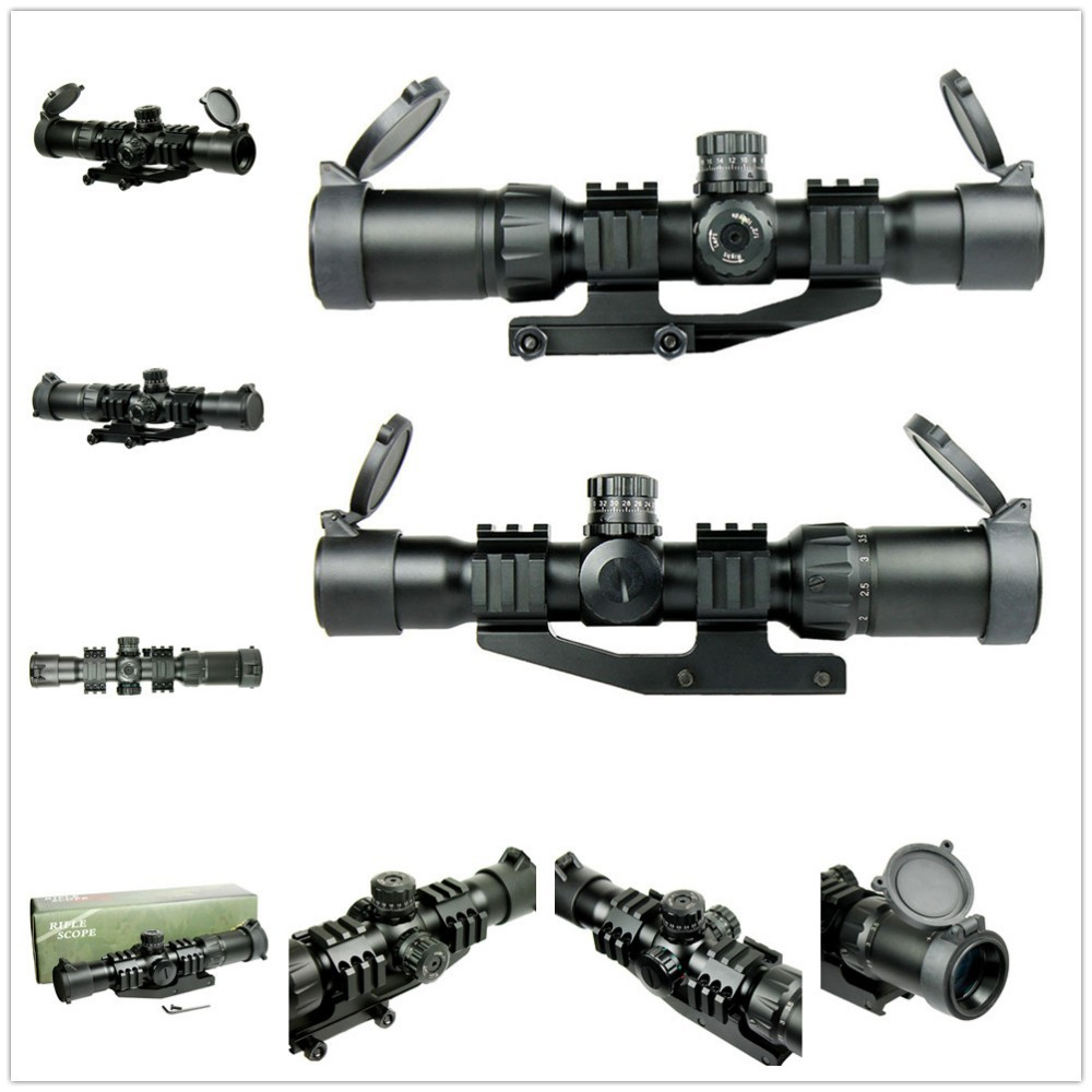 1.5-4X30 Tactical Rifle Scope w/ Tri-Illuminated Chevron Recticle & PEPR Mount for Hunting Airsoft Air Rifle Scopes Gun trijicon acog hunting air soft 4x32 rifle scope red optical scope black tactical riflescope w tri illuminated chevron recticle