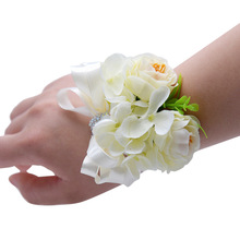 Hand Corsage Flowers Wedding Flower Bracelet Holder Wrist Accessories Hands