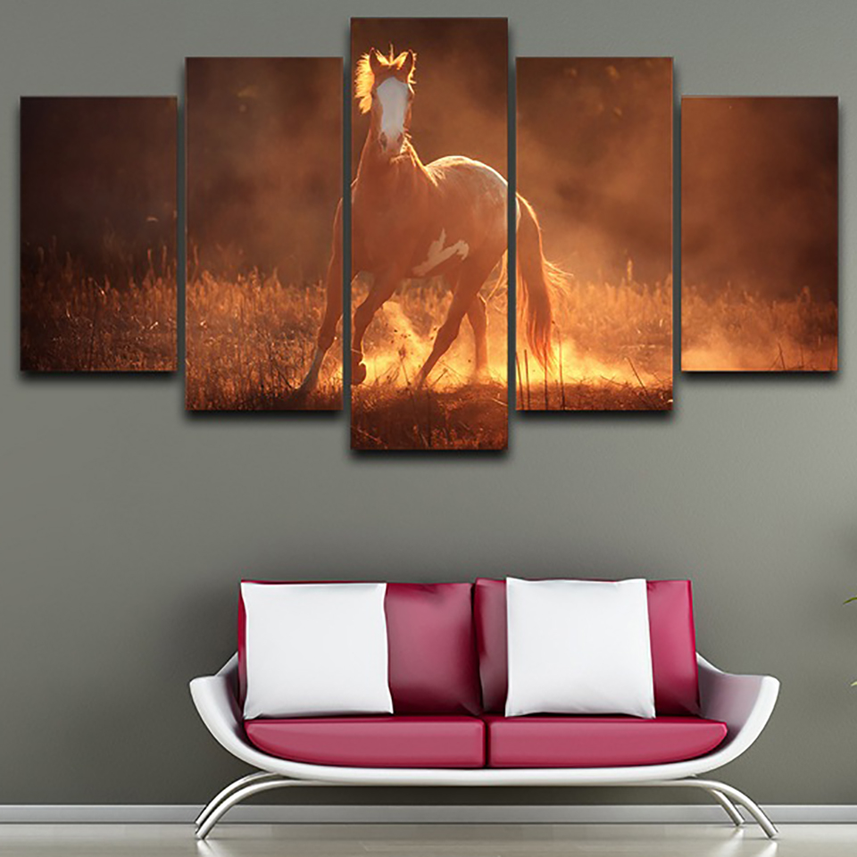 Home Decor Living Room Wall Pictures HD Printed Canvas 5 Panel Horse Sunset Landscape Artwork Painting Modular Poster Framework