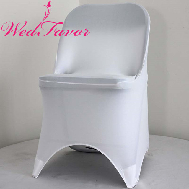 folding chair covers spandex double camping wedfavor 100pcs high quality white stretch lycra for hotel banquet wedding decoration