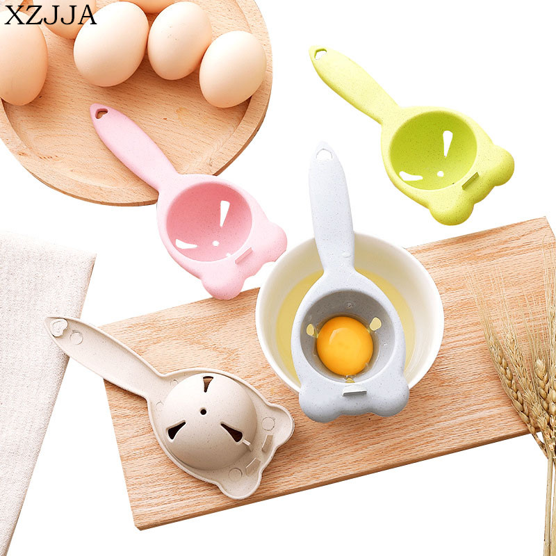 XZJJA 2PCS Food-grade Wheat Straw Egg Yolk Protein Separator Cute Bear Shape Kitchen Utensils Egg Dividers Hand Egg White Tools