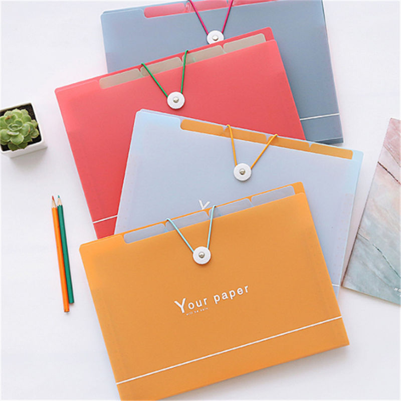 Coloffice Multifunction Solid Simple 5/8 Grid Document Bag File Folder Test Paper Exercise Book Storage Students Stationery 1PC