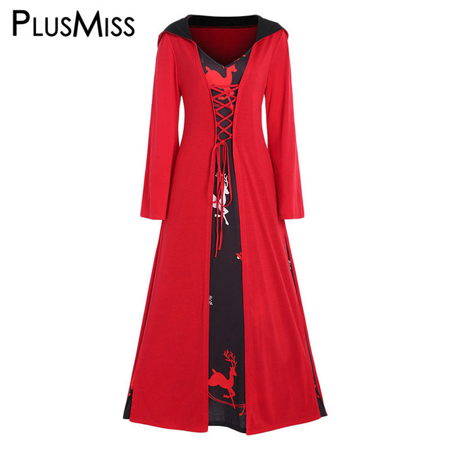 61e4fec5970 PlusMiss Plus Size 5XL Vintage Retro Christmas Print Lace Up Hooded Party  Dresses Women Red Loose