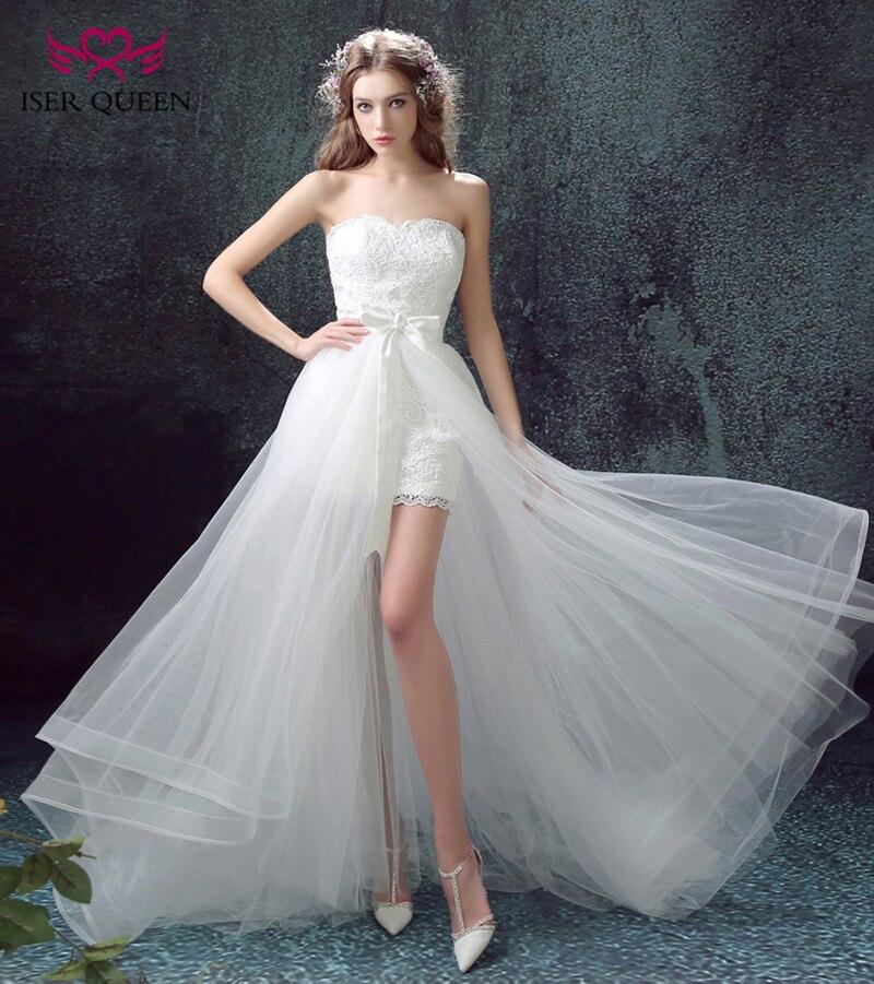 c3502b299 ISER reina hombro moda de dos en una boda Vestido 2019 de encaje bordado de  cola corta vestidos de boda WX0088 en Vestidos de novia de Bodas y eventos  en ...
