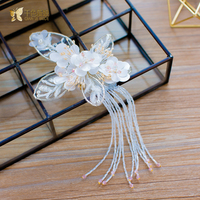 Beautiful Lace Crystal Hair Clips Women Hairgrips Pure Floral Hair Ornaments Gift Bridal Headpiece Wedding Accessories