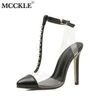 Mcckle شفافة الصنادل للمرأة أزياء المسامير خليط الكاحل حزام الصنادل الإناث الصيف الأحذية السيدات الخناجر