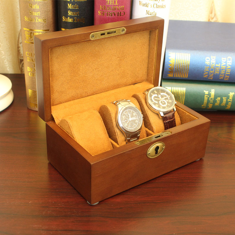 Fashion 3 Slots Wood Watch Box Top Quanlity Durable Watch Storage Case Original Brand Watch Display Boxes Jewelry Gift Box W032 red wooden paint watch box pefect to storage watch case gift for watch lacquer boxes may custom logo factory supply