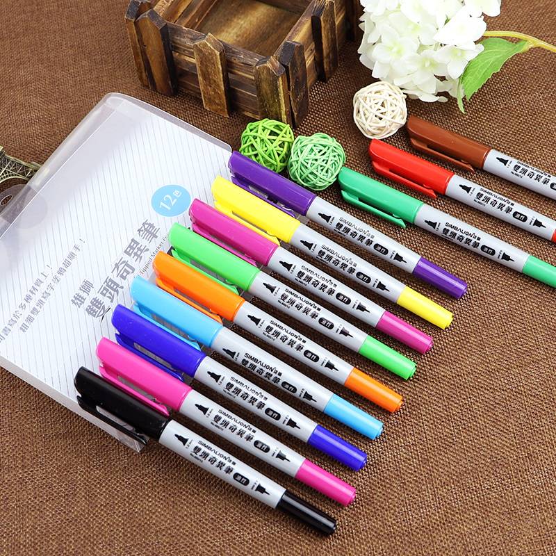 12 Colors Oil-Based Paint Markers Dual Tip Fine and Fineliner Art Permanent Pens Glass Wood Metal Rubber Rocks Stone Arts Crafts