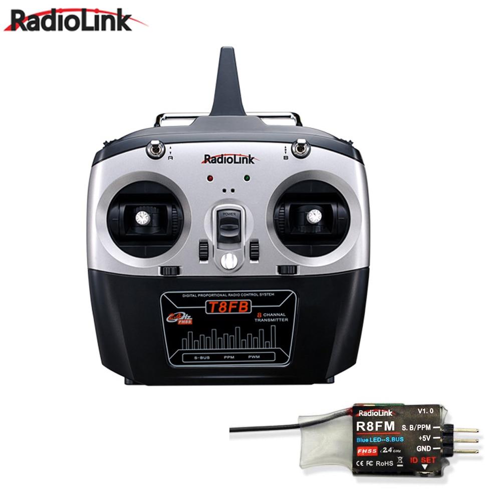 RadioLink T8FB 2.4 GHz 8ch RC เครื่องส่งสัญญาณ R8FM Receiver Combo ระยะไกล Rontrol สำหรับ RC เฮลิคอปเตอร์ DIY RC Quadcopter เครื่องบิน-ใน ชิ้นส่วนและอุปกรณ์เสริม จาก ของเล่นและงานอดิเรก บน   1